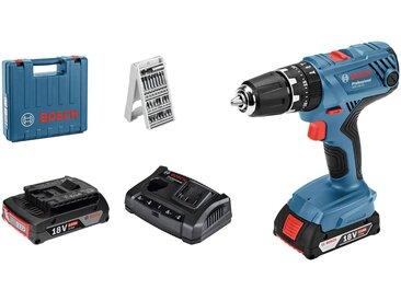 Bosch Professional BOSCH PROFESSIONAL Set: Akku-Schlagbohrschrauber »GSB 18V-21«, mit 2. Akku, Ladegerät und 25-tlg. Bit-Set, im Koffer, blau, blau