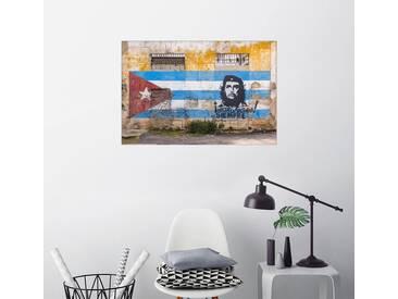 Posterlounge Wandbild - Alan Copson »Che Guevara und kubanisches Flaggenwandbild«, bunt, Poster, 120 x 80 cm, bunt