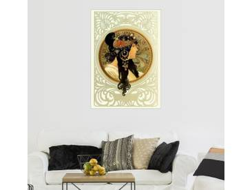 Posterlounge Wandbild - Alfons Mucha »Medaillon mit orientalischer Frau«, natur, Leinwandbild, 50 x 70 cm, naturfarben