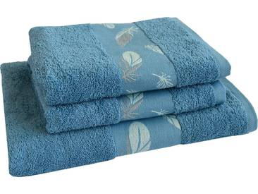 Dyckhoff Handtuch Set »Feder«, mit schöner Bordüre und Feder Motiven, blau, 3tlg.-Set, blau