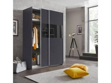 Wimex Schwebetürenschrank »Bramfeld« mit Glaselementen und zusätzlichen Einlegeböden, grau, Höhe: 198 cm, Breite: 135 cm