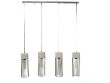 SalesFever Hängeleuchte 4 Zylinder Lampenschirme verdrahteter Rahmen »Finley«, silberfarben, Alt-Silber