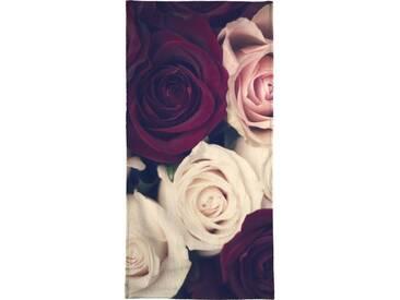 Juniqe Handtuch »Rose Bouquet«, Weiche Frottee-Veloursqualität, weiß, Frotteevelours, weiß-rot