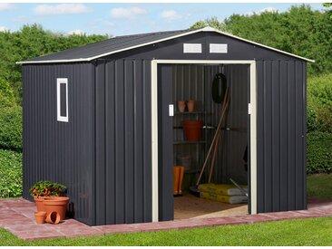 KONIFERA Set: Stahlgerätehaus »Archer Plus D«, BxTxH: 267x255x212 cm, mit Bodenrahmen, grau, anthrazit/beige