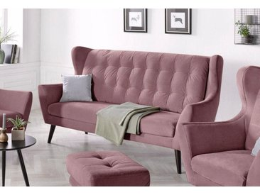 andas 3-Sitzer »Hemmink«, mit Knopfheftung, grau, 197 cm, altrosa/hellgrau