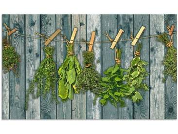 Artland Küchenrückwände »Team 5: Kräuter mit Holzoptik«, grün, 60x100 cm, Grün