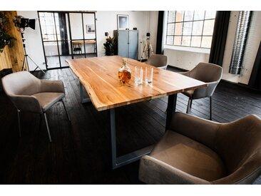 KAWOLA Essgruppe 5-teilig mit Esstisch Baumkante Akazie u. 4x Stuhl »Loui Mikrofaser hellgrau«, braun, Gestell silber, 180 x 90 cm, braun