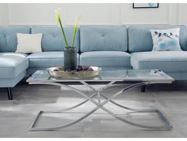 Guido Maria Kretschmer Home&Living Couchtisch »Ballum«, mit edlem Metallgestell und Glasplatte, Breite 120 cm, silberfarben, Tischplatte: Glas