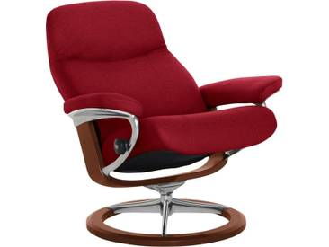 Stressless® Relaxsessel »Garda« mit Signature Base, Größe S, mit Schlaffunktion, rot, Fuß braun, red