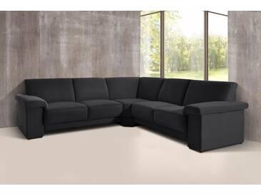 DOMO collection Ecksofa, gleichschenklig, mit Federkern, schwarz, 254 cm, schwarz