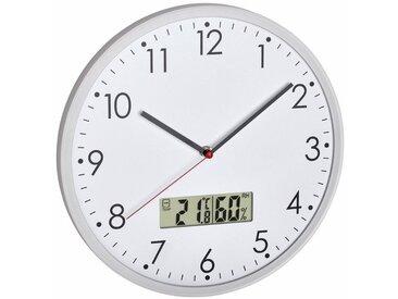 TFA Dostmann Analoge Wanduhr mit digitalem Thermometer und Hygrometer, weiß, weiß