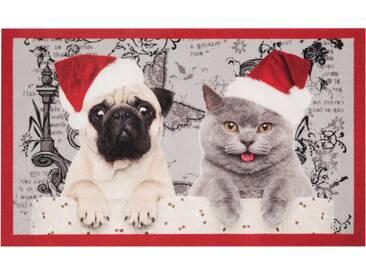 HANSE Home Fußmatte »Christmas Cat Dog«, rechteckig, Höhe 7 mm, rot, 7 mm, rot-grau