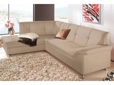 DOMO collection Ecksofa, natur, 208 cm, Ottomane links, natur