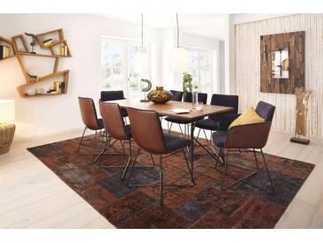 W.SCHILLIG Esstisch »magnus« mit runder Tischkante, 4 Breiten, Gestell pulverbeschichtet schwarz, braun, Breite 220 cm, Nussbaum