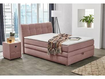 Boxspringbett mit Bettkasten und Topper, rosa, mit Aufbauservice, Mit PU-Schaum-Topper, Feinstruktur rosé 369/05