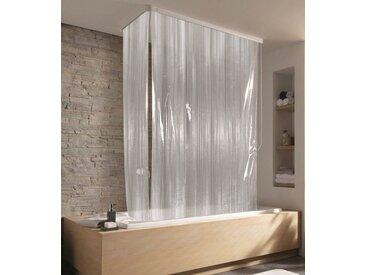 Kleine Wolke KLEINE WOLKE Eck-Duschrollo »Streifen weiß«, 134 x 240 cm, weiß, transparent