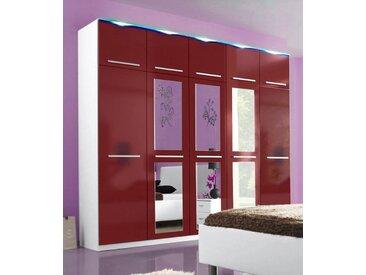 Kleiderschrank, 2- bis 5-türig, rot, mit LED-Beleuchtung, Breite 231 cm, weiß matt/rot Hochglanz