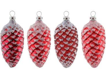 Thüringer Glasdesign Christbaumschmuck »Advent« (4-tlg), gefrostet, rot, rot-weiß