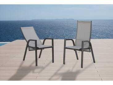 MERXX Gartenstuhl »San Remo«, (2er Set), Alu/Textil, verstellbar, silber, silberfarben, 2 Stühle, silberfarben