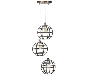 SalesFever Hängeleuchte 3 Lampenschirme Globus stufig »Mio«, braun, Antik-Kupfer