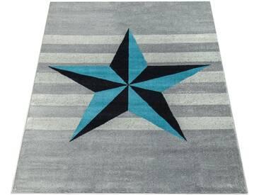Paco Home Teppich »Sinai 076«, rechteckig, Höhe 16 mm, moderner Kurzflor mit Stern Design, grau, 16 mm, grau