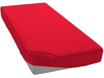 Auro Hometextile Spannbettlaken »Mako-Satin Basic Uni«, mit zartem Schimmer, rot, Mako-Satin, rot