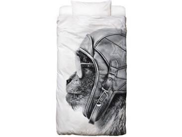 Juniqe Bettwäsche »Aviator Monkey«, In vielen weiteren Designs erhältlich, schwarz, 1x 155x220 cm, Renforcé, schwarz-weiß
