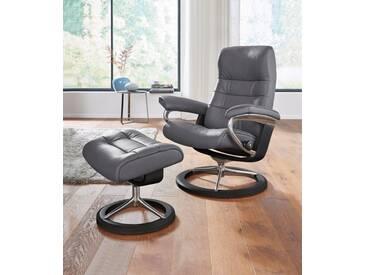 Stressless® Set: Relaxsessel mit Hocker »Opal« mit Signature Base, Größe L, mit Schlaffunktion, grau, Fuß wengefarben, grey