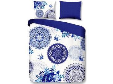 hip Wendebettwäsche »Grande«, mit Mandala und Schwalben, blau, 1x 200x200 cm, Satin, blau