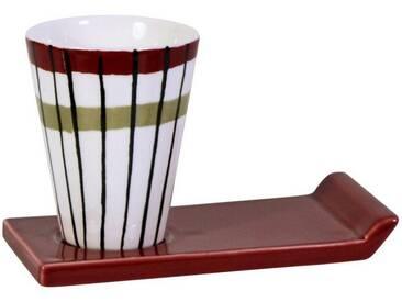 CULTDESIGN Cult Design Glühwein Becher Retro gestreift, schwarz, rot, weiß