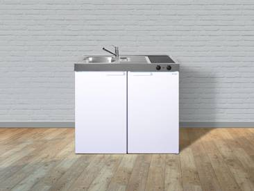 Stengel Metall-Miniküche Kitchenline MK 100, Kühlschrank, Glaskeramik-Kochfeld, Spülbecken, Breite 100 cm, weiß