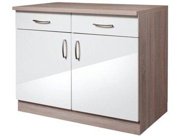 wiho Küchen Wiho Küchen Küchenunterschrank »Porto«, Breite 100 cm, weiß, weiß/eichefarben trüffel