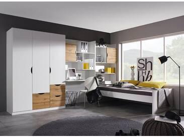 rauch Kinderzimmer-Set »Fosco« (4-tlg.), weiß, Set mit 3-trg. Schrank, weiß/eichefb. Wotan