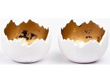 Fabriano Kerzenhalter »Lume« (Set, 2 Stück), weiß, H: 8 cm, weiß-goldfarben