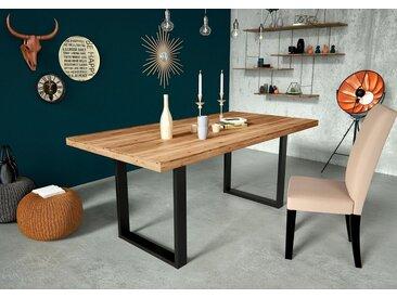 Home affaire Esstisch »Concepto«, aus Keilverzinktem Eichenholz, mit massivem Eichenholzbeinen, in schwarz metallischer Optik, Breite 180 cm, natur