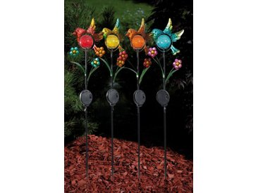 """HGD Holz-Glas-Design Gartenstecker """"Vogel"""" 4er-Set, bunt, Multicolor"""