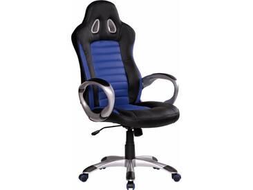 Amstyle Chefsessel »Racer«, mit gepolsterten Armlehnen, blau, blau/schwarz