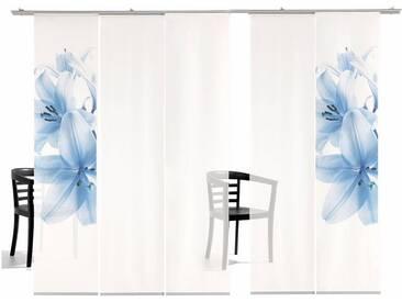 emotion textiles Schiebegardine »Lilie TR«, Klettband (5 Stück), inkl. Befestigungszubehör, blau, Klettband, transparent, blau