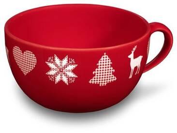 FRIESLAND Kaffeeservice, Steingut, rot, rot