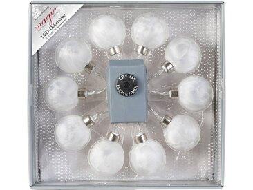 INGE-GLAS® LED-Lichterkette »Magic - Glaskugel«, weiß, weiß eislack