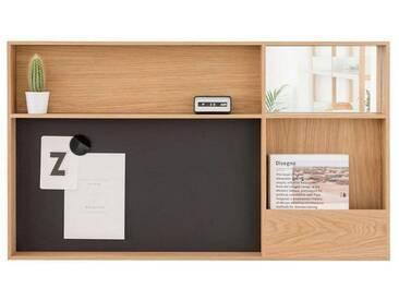 Case Furniture Wandregal »Arca Wall Box mit Magnetboard und Schubfach«, braun, eiche/silber