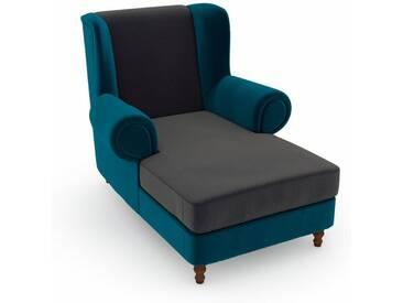 Max Winzer® build-a-chair XXL Ohrensessel »Madeleine«, zum Selbstgestalten, grau, Korpus: Samtvelours petrol, Samtvelours anthrazit