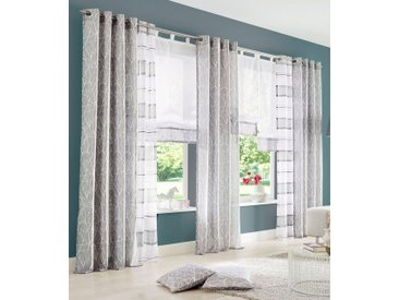 my home Raffrollo »Camposa«, mit Schlaufen, grau, Schlaufen, transparent, grau