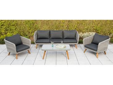 MERXX Loungeset »Toscanella«, 14-tlg., 2 Sessel, 3er-Bank, Tisch 110x60 cm, Polyrattan, grau, grau