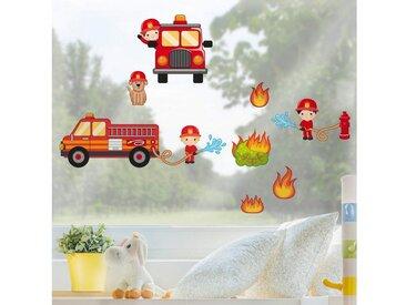 Bilderwelten Fenstersticker »Feuerwehr im Einsatz Set«, bunt, Farbig