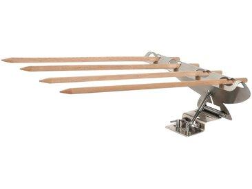 hecht international HECHT Grillspieß »Rombo«, Edelstahlhalter mit 4 Holzspießen, braun, braun