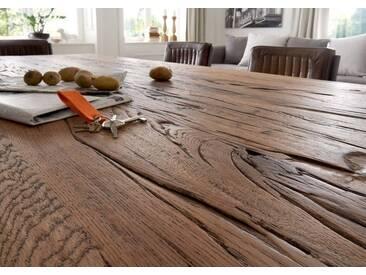 KAWOLA Esstisch Massivholz Eiche Old Bassano versch. Größen »NELA«, braun, 200 x 100 cm, braun