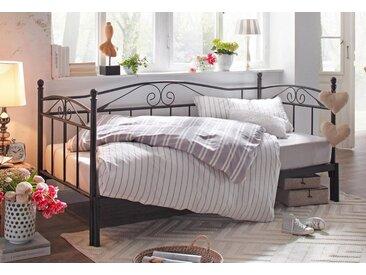 Home affaire Daybett »Birgit«, mit einer praktischen ausziehbaren Liegefläche, schönes Metallgestell, schwarz, schwarz