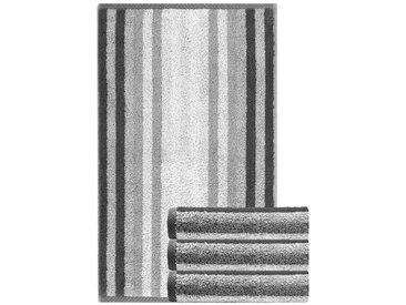 Lashuma Handtuch Set »Pure« (Set, 4-tlg), 4er Set Gästehandtücher 30x50 cm, Kleine Handtücher Gestreift, grau, grau
