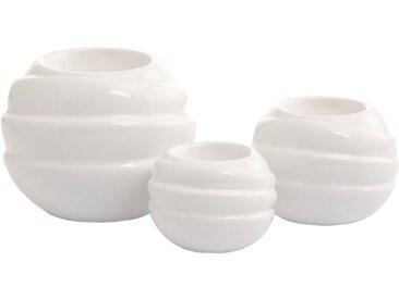 VALENTINO Wohnideen Kerzenhalter »Tajo« (Set, 3 Stück), glasiert, weiß, H: 6 / 7,5 / 10 cm, weiß
